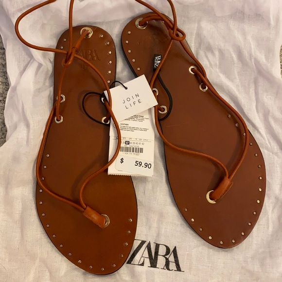 Flat Wrap Around Sandal - NWT , Gold Accents